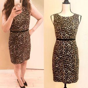 Loft leopard print satin dress
